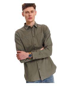 TOP SECRET - Koszula ze strukturalnej tkaniny. Okazja: do pracy. Kolor: zielony. Materiał: tkanina. Długość rękawa: długi rękaw. Długość: długie. Sezon: wiosna