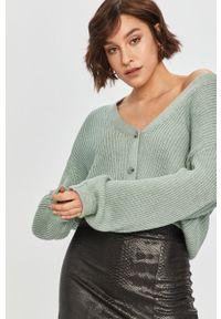 Miętowy sweter rozpinany Answear Lab wakacyjny, z długim rękawem