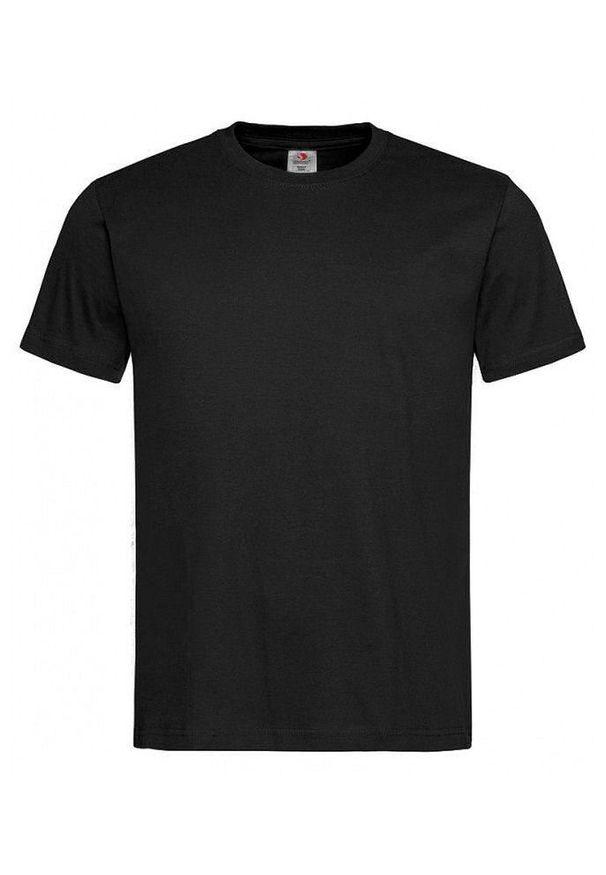 Czarny t-shirt Stedman z krótkim rękawem, na co dzień, casualowy