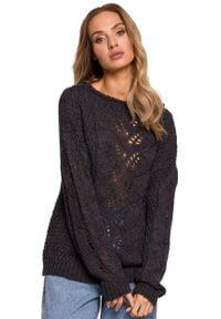MOE - Sweter Oversize z Ażurowym Wzorem - Grafitowy. Kolor: szary. Materiał: poliamid, akryl. Wzór: ażurowy