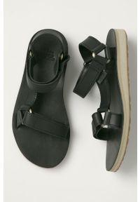 Czarne sandały Teva na rzepy, na niskim obcasie