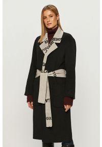 Czarny płaszcz Karl Lagerfeld na co dzień, klasyczny, bez kaptura