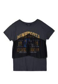 Szary t-shirt TROLL na co dzień, na zimę, z nadrukiem, krótki #6