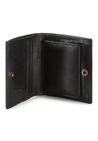Wittchen - Damski portfel skórzany z herbem na zatrzask. Kolor: czarny. Materiał: skóra