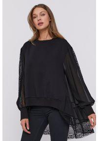 TwinSet - Twinset - Bluza. Kolor: czarny. Materiał: koronka. Długość rękawa: długi rękaw. Długość: długie