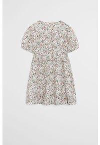 Sukienka Mango Kids w kwiaty, rozkloszowana, z krótkim rękawem