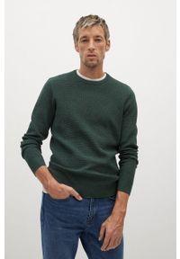 Zielony sweter Mango Man na co dzień, długi, casualowy