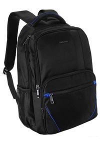 DAVID JONES - Plecak czarny z niebieskimi wstawkami David Jones PC-024 BLACK-BLUE. Kolor: wielokolorowy, niebieski, czarny. Materiał: materiał. Wzór: aplikacja