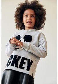 Szara bluza Mango Kids z kapturem, z nadrukiem, na co dzień