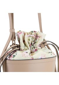 Beżowa torebka worek Wittchen skórzana, na lato, w kwiaty