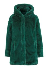 Cellbes Płaszcz ze sztucznego futra z kapturem ciemnozielony female zielony 58/60. Typ kołnierza: kaptur. Kolor: zielony. Materiał: futro. Styl: elegancki