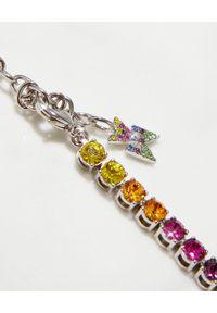 AMINA MUADDI - Kolorowy naszyjnik z kryształami. Materiał: srebrne. Kolor: czerwony. Wzór: kolorowy. Kamień szlachetny: kryształ #4