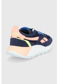 Niebieskie sneakersy na sznurówki, z okrągłym noskiem, Reebok Classic, z cholewką