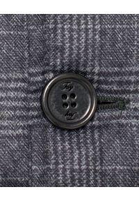 FAY - Pikowana kurtka w kratę. Typ kołnierza: golf. Kolor: szary. Materiał: materiał, wełna. Długość rękawa: długi rękaw. Długość: długie. Wzór: gładki