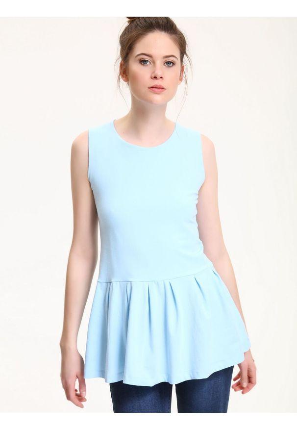 Niebieska bluzka TROLL casualowa, z dekoltem na plecach, na lato