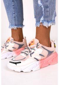 Casu - Różowe sneakersy na platformie buty sportowe sznurowane casu 21f2/p. Kolor: biały, różowy, wielokolorowy. Obcas: na platformie