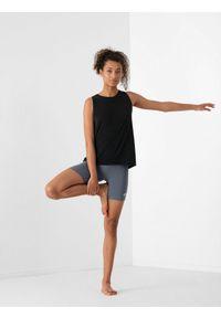 4f - Koszulka bez rekawów damska do jogi. Kolor: czarny. Materiał: włókno, dzianina, materiał. Sport: joga i pilates