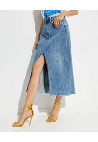 ONETEASPOON - Spódnica jeansowa maxi Rocko. Stan: podwyższony. Kolor: niebieski. Materiał: jeans. Długość: długie. Wzór: aplikacja. Styl: klasyczny