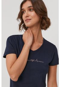 Emporio Armani Underwear - Emporio Armani - T-shirt piżamowy. Kolor: niebieski. Długość: krótkie. Wzór: aplikacja