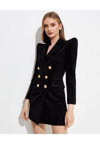 Balmain - BALMAIN - Dwurzędowa sukienka z klapami. Kolor: czarny. Długość rękawa: długi rękaw. Długość: mini
