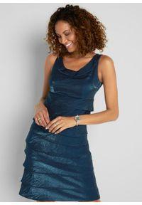 Sukienka z tafty z falbanami bonprix ciemnoniebieski. Kolor: niebieski. Materiał: materiał. Typ sukienki: ołówkowe