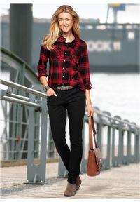 Bluzka bawełniana w kratę bonprix czerwono-czarny w kratę. Kolor: czerwony. Materiał: bawełna
