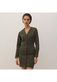 Reserved - Jeansowa sukienka - Zielony. Kolor: zielony. Materiał: jeans