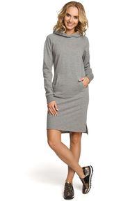 Sukienka MOE z długim rękawem, prosta, sportowa, z kapturem