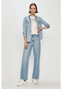 Biała bluzka z długim rękawem Tommy Jeans na co dzień, z nadrukiem, casualowa