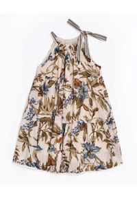 ZIMMERMANN KIDS - Sukienka z kwiatowym wzorem Halter. Typ kołnierza: dekolt halter. Kolor: niebieski. Materiał: bawełna. Wzór: kwiaty