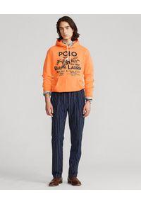Ralph Lauren - RALPH LAUREN - Pomarańczowa bluza z kapturem Graphic. Typ kołnierza: kaptur. Kolor: pomarańczowy. Materiał: tkanina, bawełna, prążkowany. Wzór: nadruk