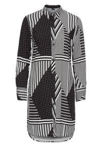 Długa bluzka bonprix czarno-biały w graficzny wzór. Kolor: czarny. Długość: długie. Wzór: nadruk. Styl: elegancki