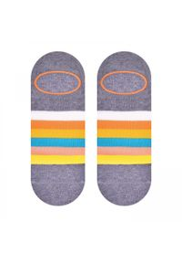 More - Szare skarpety stopki w paski SK163. Kolor: szary. Materiał: bawełna, poliamid, elastan. Wzór: paski