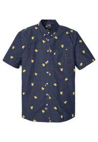 Koszula z krótkim rękawem bonprix ciemnoniebieski z nadrukiem. Kolor: niebieski. Długość rękawa: krótki rękaw. Długość: krótkie. Wzór: nadruk. Sezon: lato. Styl: wakacyjny