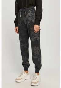 Niebieskie spodnie materiałowe Desigual z podwyższonym stanem, casualowe, na co dzień
