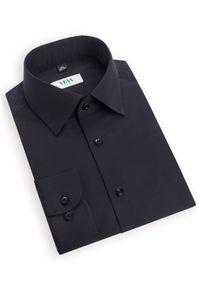 Czarna koszula VEVA z klasycznym kołnierzykiem, z długim rękawem, długa, klasyczna