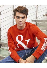 PAPROCKI&BRZOZOWSKI - Czerwona bluza z logo. Kolor: czerwony. Materiał: bawełna, prążkowany. Wzór: aplikacja, nadruk
