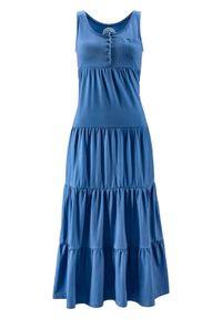 Długa sukienka bawełniana z dżerseju bonprix niebieski dżins. Kolor: niebieski. Materiał: bawełna, jersey. Długość: maxi