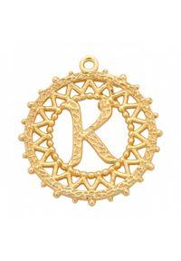 MOKOBELLE - Naszyjnik łańcuch z literką 60 cm. Materiał: srebrne, pozłacane. Kolor: złoty. Wzór: ażurowy, aplikacja #3