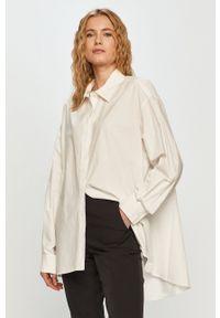 Silvian Heach - Koszula bawełniana. Kolor: biały. Materiał: bawełna. Długość rękawa: długi rękaw. Długość: długie. Wzór: gładki