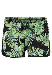 Szorty plażowe bonprix czarno-zielony w roślinny wzór. Okazja: na plażę. Kolor: czarny. Wzór: nadruk