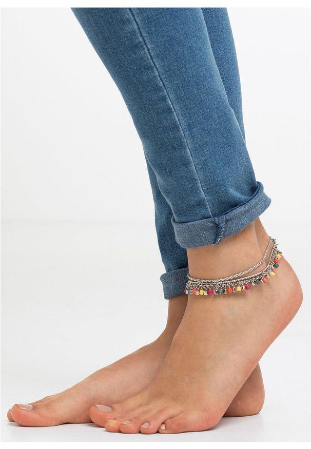 Łańcuszki na nogę 3 części bonprix srebrny kolor - kolorowy
