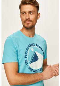Niebieski t-shirt Tom Tailor Denim casualowy, z okrągłym kołnierzem, na co dzień, z nadrukiem