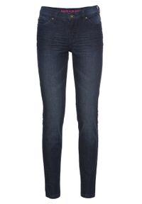 Dżinsy Super SKINNY, krótsze nogawki bonprix ciemny denim. Kolor: niebieski. Materiał: bawełna, wiskoza, materiał, elastan, poliester. Długość: krótkie