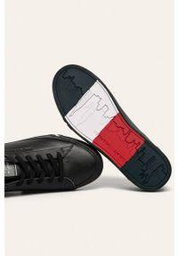 Czarne sneakersy TOMMY HILFIGER z okrągłym noskiem, na sznurówki, z cholewką #4