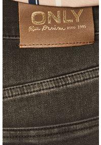Szare proste jeansy only z podwyższonym stanem