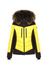 Żółta kurtka narciarska Descente z motywem zwierzęcym, Thinsulate
