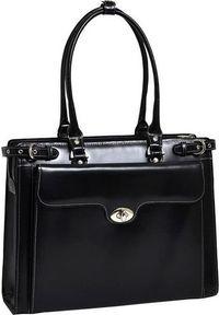 Torba MCKLEIN Skórzana torba damska na laptopa 15,4 Mcklein Winnetka 94835 czarna. Kolor: czarny. Materiał: skóra