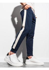 Ombre Clothing - Spodnie męskie dresowe joggery P951 - granatowe - XXL. Kolor: niebieski. Materiał: dresówka