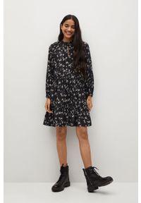 Czarna sukienka mango w kwiaty, na co dzień, mini, casualowa